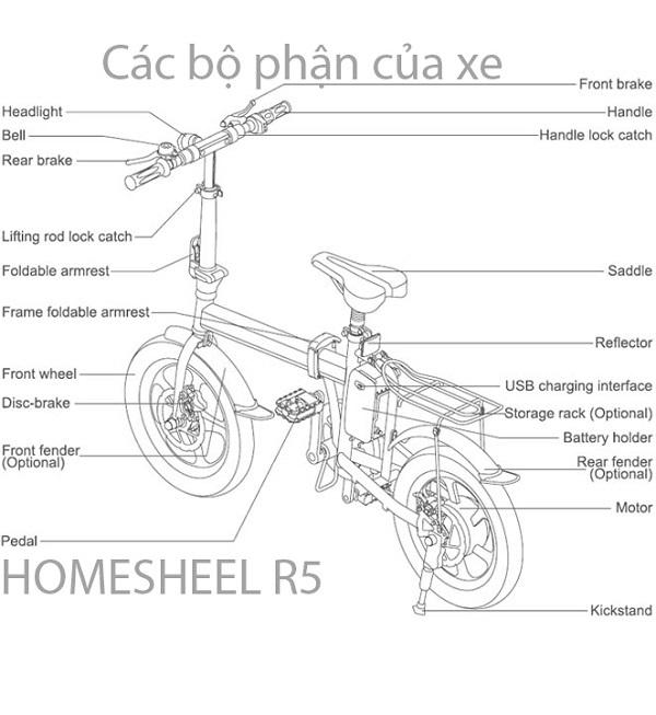Những bộ phận của xe đạp điện gấp Homesheel AIRWHEEL R5.
