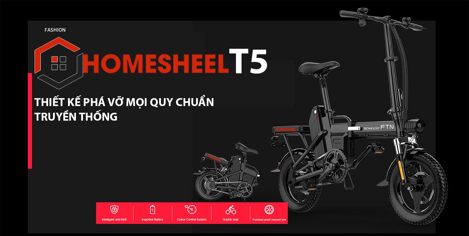 Xe đạp điện gấp Homesheel FTN T5 – 10Ah - xe điện thể thao nhỏ gọn