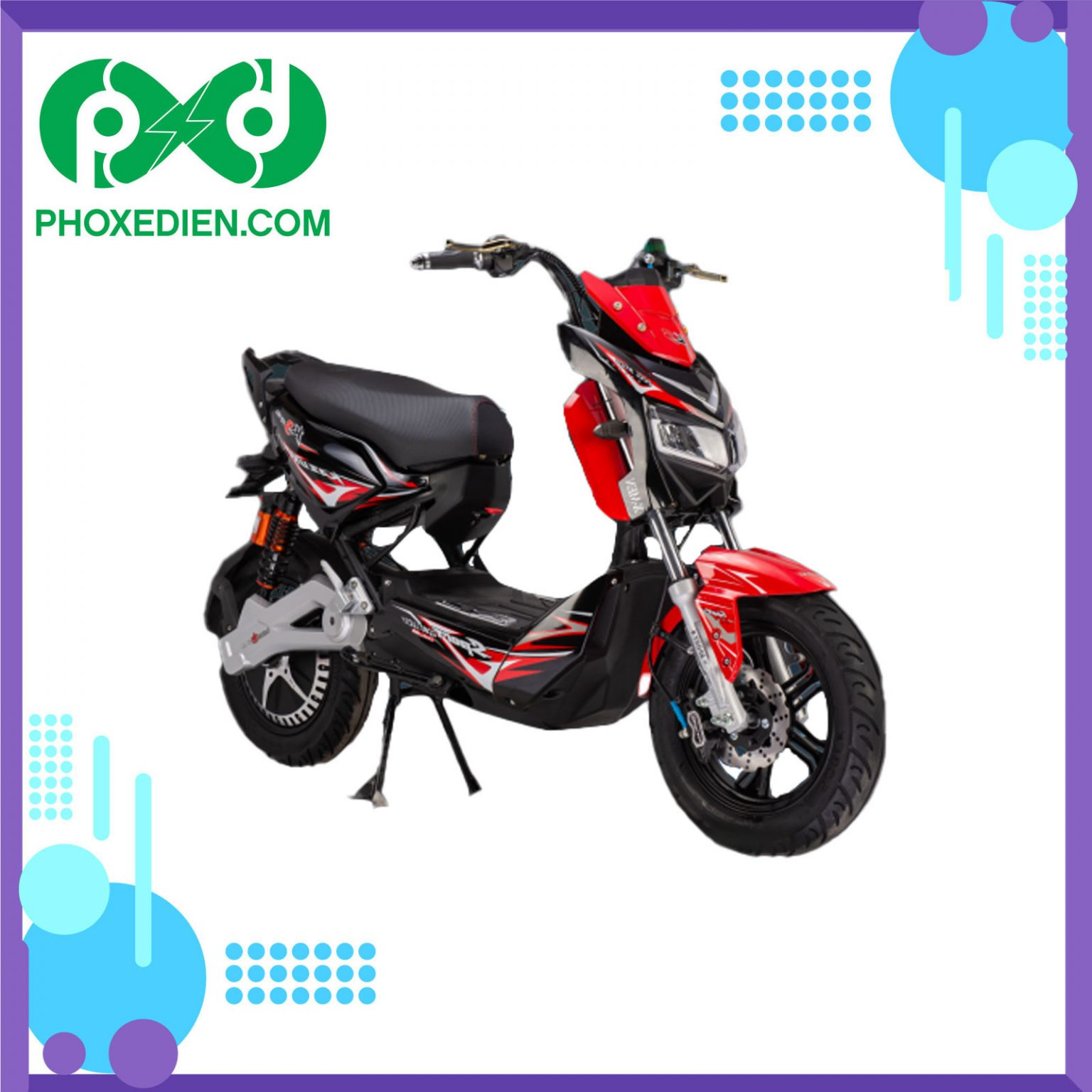 Xe máy điện DTP Xmen M9 2021 - Đỏ Đen