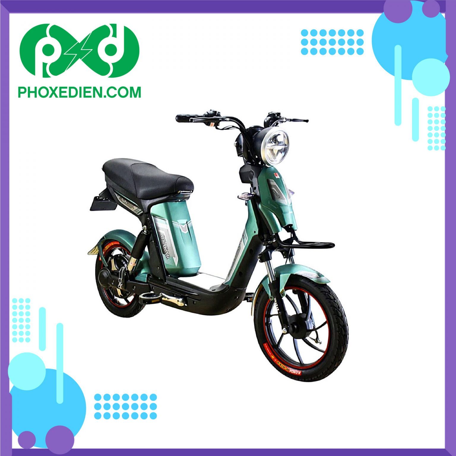 Xe đạp điện Osakar Alpha Sport 2021 - màu xanh lá