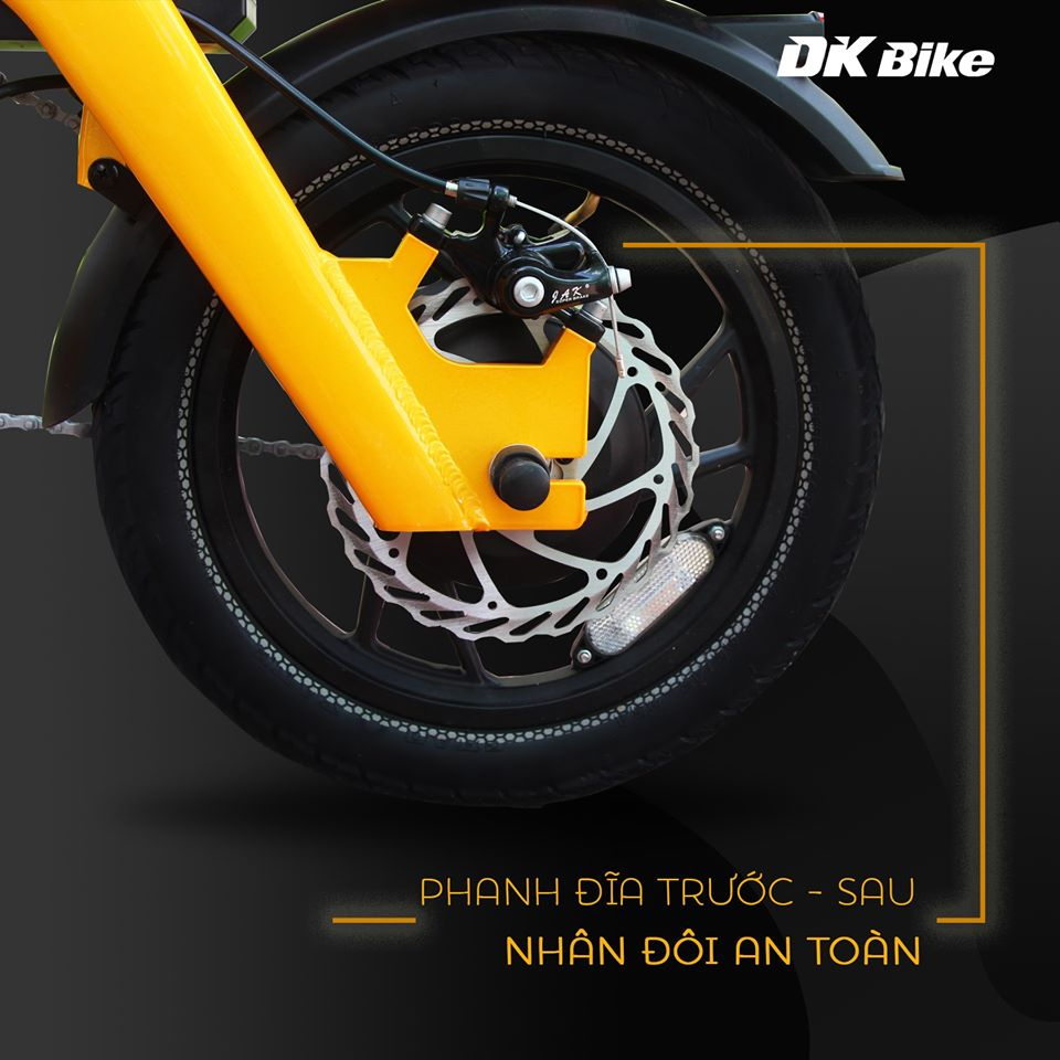 Bộ Đôi Phanh Đĩa Trước Sau, Nhân Đôi An Toàn Xe đạp điện gấp DK Aima S3